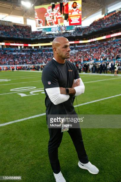 Defensive Coordinator Robert Saleh of the San Francisco 49ers stands on the field before the game against the Kansas City Chiefs in Super Bowl LIV at...