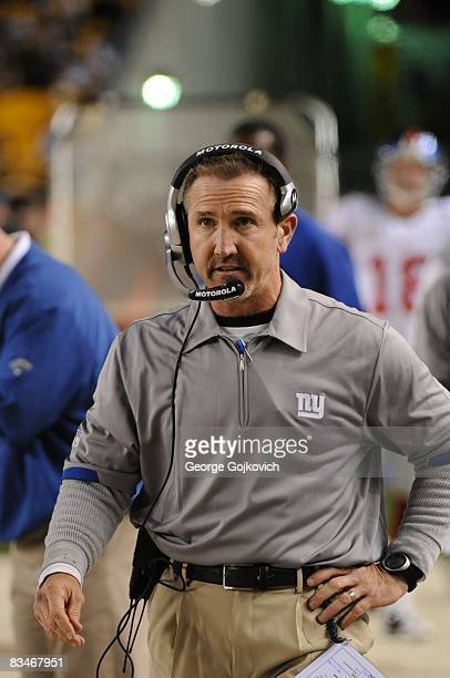 Defensive coordinator Steve Spagnuolo of the New York Giants looks on from the sideline during a game against the Pittsburgh Steelers at Heinz Field...