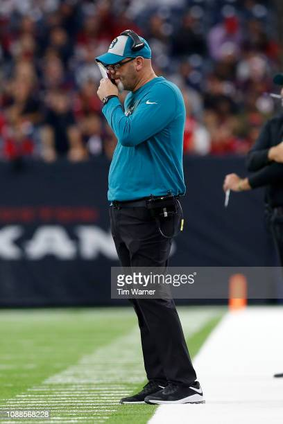 Defensive coordinator Todd Wash of the Jacksonville Jaguars calls a play in the fourth quarter against the Houston Texans at NRG Stadium on December...