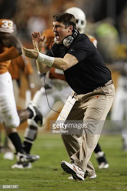 Defensive coordinator Will Muschamp of the Texas Longhorns celebrates during the game against the Missouri Tigers on October 18 2008 at Darrell K...