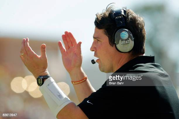 Defensive coordinator Will Muschamp of the Texas Longhorns cheers on his team against the Baylor Bears in the second quarter on November 8 2008 at...