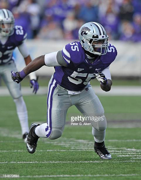 Defensive end Adam Davis of the Kansas State Wildcats rushes on defense against the Texas Tech Red Raiders during the second half on October 27 2012...