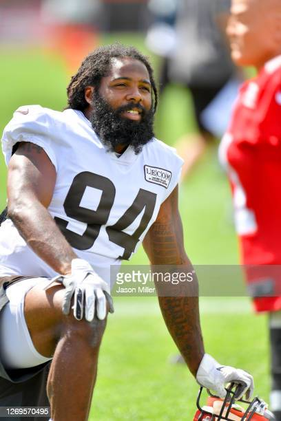 Defensive end Adrian Clayborn of the Cleveland Browns warms up during training camp at the Browns training facility on August 29, 2020 in Berea, Ohio.