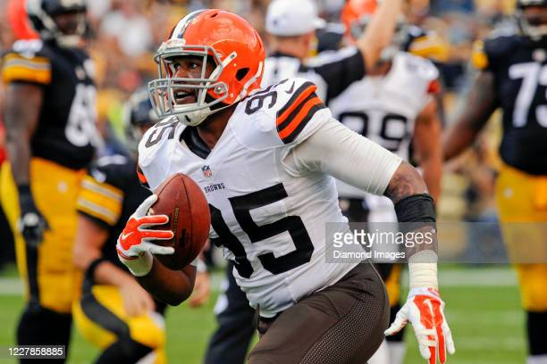 Defensive end Armonty Bryant of the Cleveland Browns celebrates a sack in the third quarter of a game against the Pittsburgh Steelers at Heinz Field...