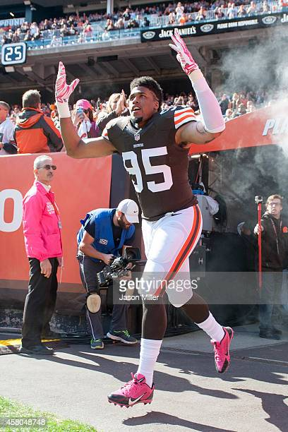 Defensive end Armonty Bryant of the Cleveland Browns during the player introduction prior to the game against the Pittsburgh Steelers at FirstEnergy...