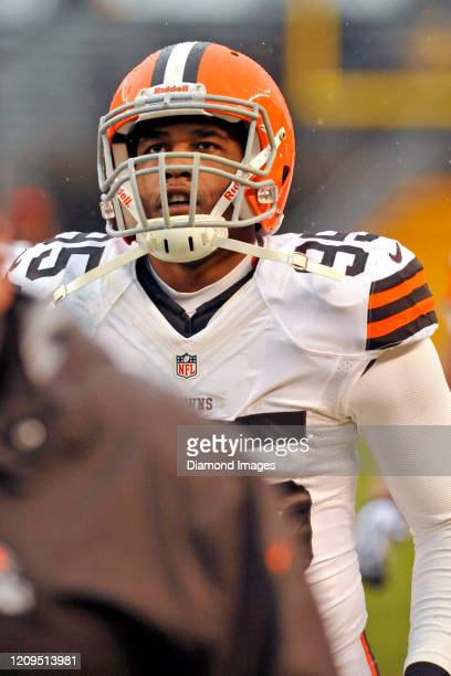 Defensive end Armonty Bryant of the Cleveland Browns on the field prior to a game against the Pittsburgh Steelers on December 29 2013 at Heinz Field...