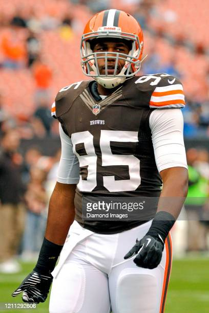 Defensive end Armonty Bryant of the Cleveland Browns on the field prior to a game against the Detroit Lions on October 13 2013 at FirstEnergy Stadium...