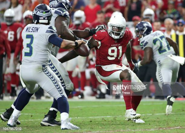 Defensive end Benson Mayowa of the Arizona Cardinals during an NFL game against the Seattle Seahawks at State Farm Stadium on September 30, 2018 in...