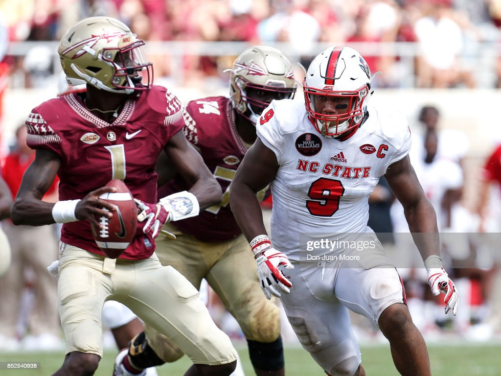 Defensive End Bradley Chubb #9 of the North Carolina State Wolfpack rushes in on Quarterback James Blackmon #1 of the Florida State Seminoles during the game at Doak Campbell Stadium on Bobby Bowden Field on September 23, 2017 in Tallahassee, Florida. NC State defeated Florida State 27 to 21.