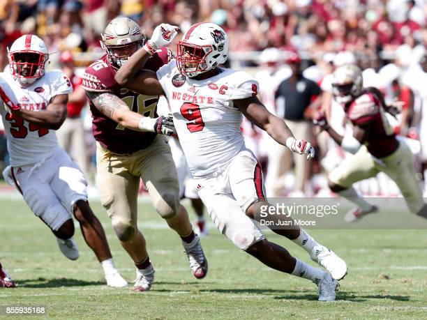 Defensive End Bradley Chubb of the North Carolina State Wolfpack beats Tackle Rick Leonard of the Florida State Seminoles during the game at Doak...