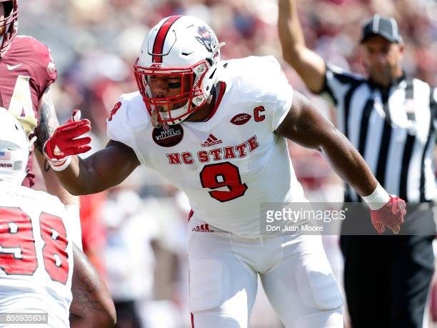 Defensive End Bradley Chubb of the North Carolina State Wolfpack during the game against the Florida State Seminoles at Doak Campbell Stadium on...