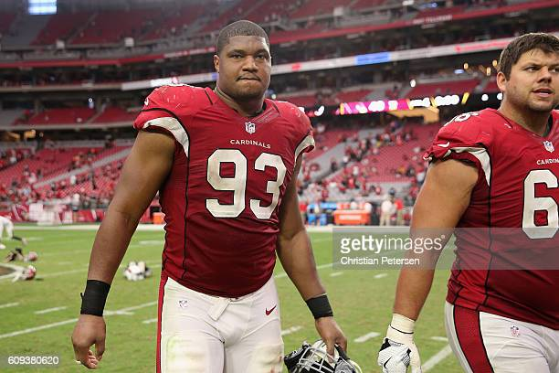 Defensive end Calais Campbell of the Arizona Cardinals reacts as he walks off the field after defeating the Tampa Bay Buccaneers 407 in the NFL game...