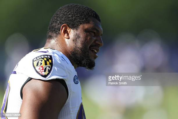 Defensive end Calais Campbell of the Baltimore Ravens trains during the Baltimore Ravens Training Camp at Under Armour Performance Center Baltimore...