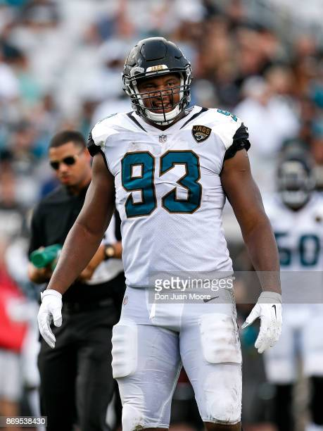 Defensive End Calais Campbell of the Jacksonville Jaguars during the game against the Los Angeles Rams at EverBank Field on October 15 2017 in...