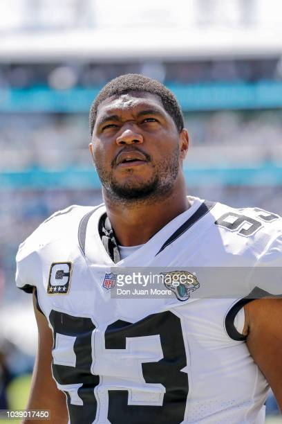 Defensive End Calais Campbell of the Jacksonville Jaguars looks up in stands before the start of the game against the Tennessee Titans at TIAA Bank...