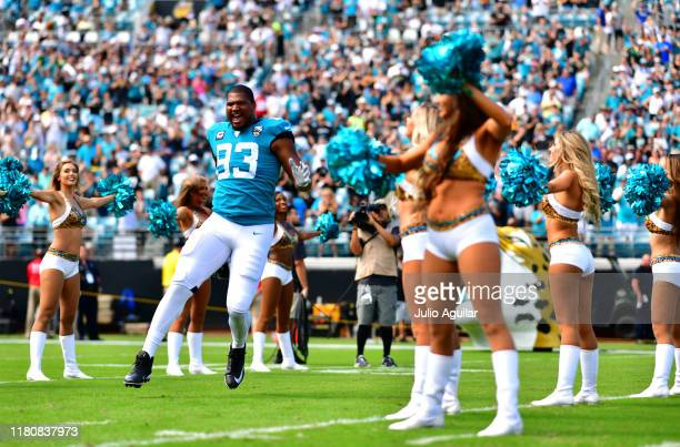 Defensive end Calais Campbell of the Jacksonville Jaguars runs on to the field during team introductions before the game against the New Orleans...