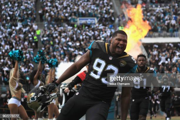Defensive end Calais Campbell of the Jacksonville Jaguars takes the field before the start of the AFC Wild Card Playoff game against the Buffalo...