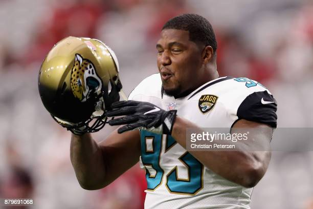 Defensive end Calais Campbell of the Jacksonville Jaguars warms up before the NFL game against the Arizona Cardinals at the University of Phoenix...