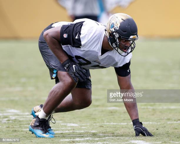 Defensive End Calais Campbell of the Jacksonville Jaguars works out during Training Camp at Florida Blue Health and Wellness Practice Fields on July...