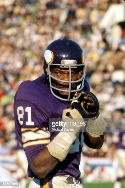 Defensive end Carl Eller of the Minnesota Vikings walks off the field in a game on