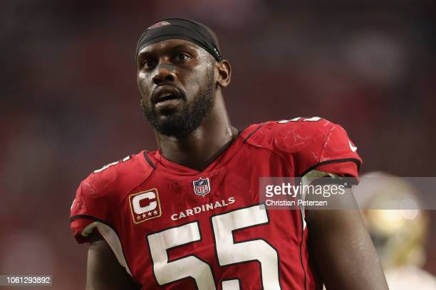 Defensive end Chandler Jones of the Arizona Cardinals during the NFL game against the San Francisco 49ers at State Farm Stadium on October 28 2018 in...