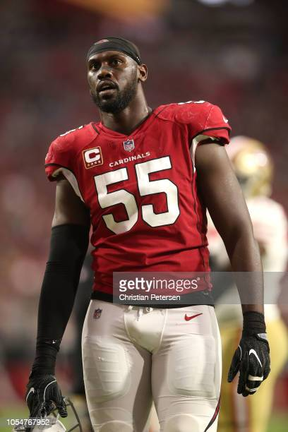 Defensive end Chandler Jones of the Arizona Cardinals stands on the sideline during the second half against the San Francisco 49ers at State Farm...
