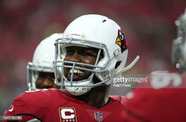 Defensive end Chandler Jones of the Arizona Cardinals warms up before the game against the Seattle Seahawks at State Farm Stadium on September 30...