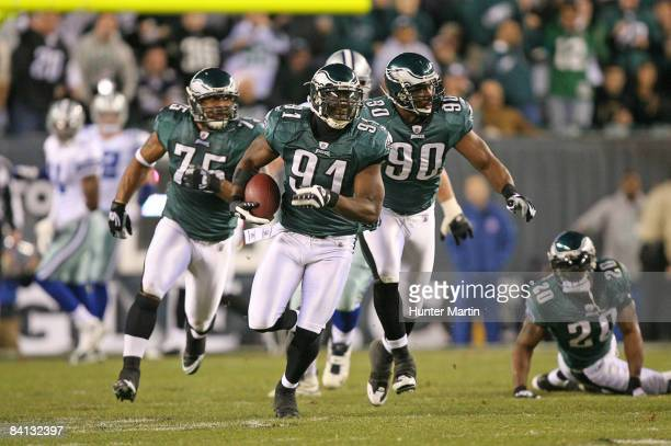 Defensive end Chris Clemons of the Philadelphia Eagles returns a fumble for a touchdown during a game against the Dallas Cowboys on December 28 2008...