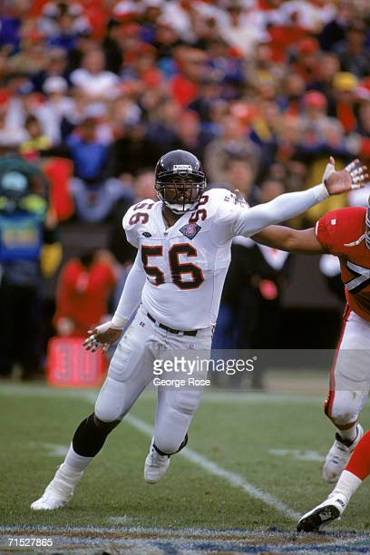Defensive end Chris Doleman of the Atlanta Falcons is shown during a game against the San Francisco 49ers at Candlestick Park on December 4 1994 in...