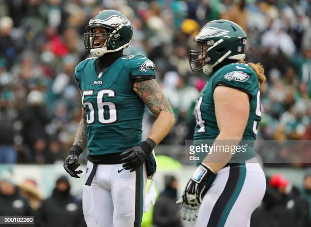 Defensive end Chris Long and defensive tackle Beau Allen of the Philadelphia Eagles react against the Dallas Cowboys during the first half of the...