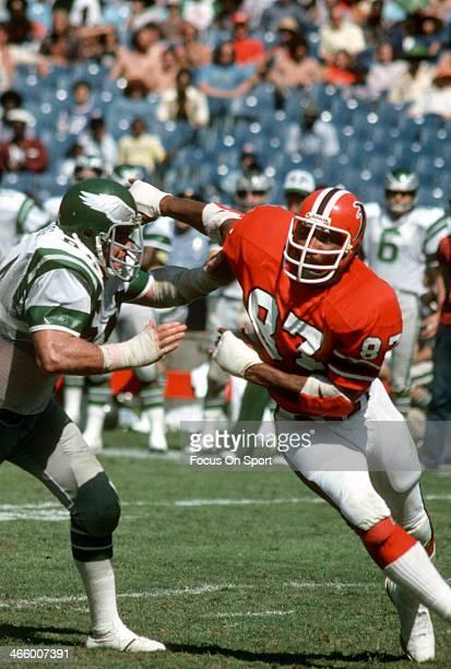 Defensive end Claude Humphrey of the Atlanta Falcons pursues the play against the Philadelphia Eagles during an NFL football game at AtlantaFulton...