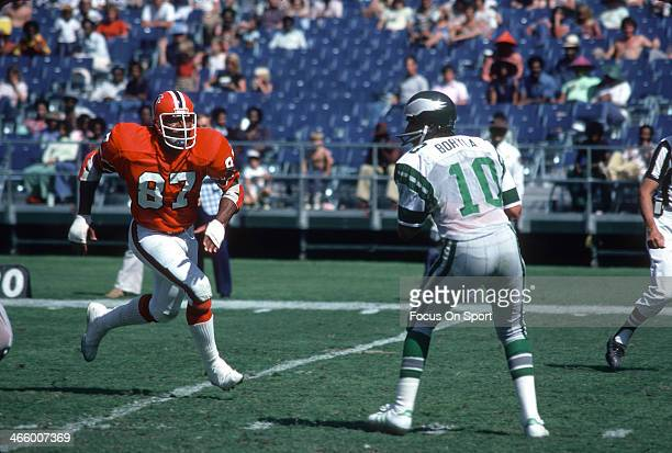 Defensive end Claude Humphrey of the Atlanta Falcons rushes quarterback Mike Boryla of the Philadelphia Eagles during an NFL football game at...