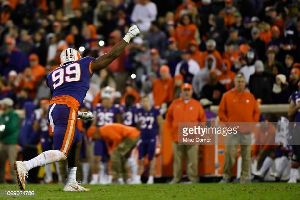 Defensive end Clelin Ferrell of the Clemson Tigers celebrates after a play against the Duke Blue Devils during their football game at Clemson...