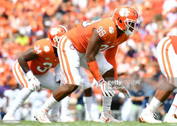 Defensive end Clelin Ferrell of the Clemson Tigers lines up for snap against the Georgia Southern Eagles during the football game at Clemson Memorial...