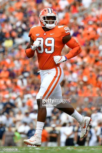 Defensive end Clelin Ferrell of the Clemson Tigers runs to the sideline during the Tigers' football game against the Georgia Southern Eagles at...