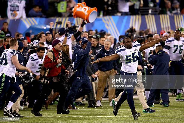 Defensive end Cliff Avril of the Seattle Seahawks celebrates their 438 win over the Denver Broncos during Super Bowl XLVIII at MetLife Stadium on...