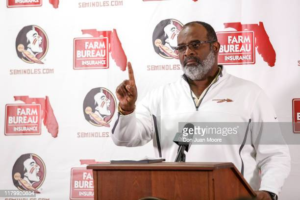 Defensive End Coach Odell Haggins of the Florida State Seminoles address the media during a press conference that Head Football Coach Willie Taggarts...