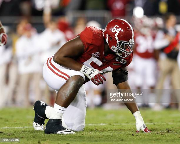 Defensive End Dalvin Tomlinson of the Alabama Crimson Tide during the 2017 College Football Playoff National Championship Game against the Clemson...