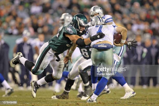 Defensive end Daniel Te'oNesheim of the Philadelphia Eagles sacks quarterback Stephen McGee of the Dallas Cowboys during a game at Lincoln Financial...