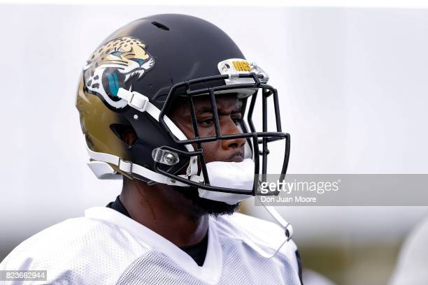 Defensive End Dante Fowler Jr #56 of the Jacksonville Jaguars works out during Training Camp at Florida Blue Health and Wellness Practice Fields on...