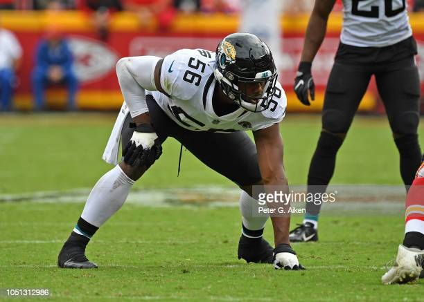 Defensive end Dante Fowler of the Jacksonville Jaguars gets set on defense during the first half against the Kansas City Chiefs on October 7 2018 at...