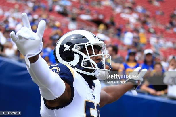 Defensive end Dante Fowler of the Los Angeles Rams enters the stadium ahead of the game against the New Orleans Saints at Los Angeles Memorial...