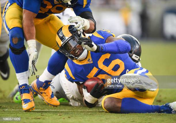 Defensive end Dante Fowler of the Los Angeles Rams reacts after his fumble recovery in the fourth quarter against the Seattle Seahawks at Los Angeles...