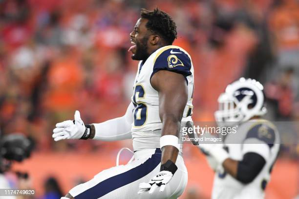 Defensive end Dante Fowler of the Los Angeles Rams stretches prior to a game against the Cleveland Browns on September 22, 2019 at FirstEnergy...