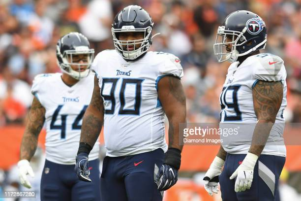 Defensive end DaQuan Jones of the Tennessee Titans on the field in the second quarter of a game against the Cleveland Browns on September 8, 2019 at...
