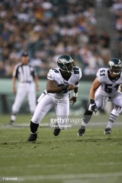 Defensive end Darren Howard of the Philadelphia Eagles comes off the line of scrimmage during the game against the Cleveland Browns on August 10 2006...