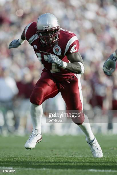 Defensive End DD Acholonu of the Washington State University Cougars in action against the University of Oklahoma Sooners during the 89th Rose Bowl...
