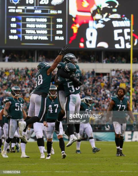 Defensive end Derek Barnett of the Philadelphia Eagles celebrates his sack on fourth and goal in the final minutes of the game against the...