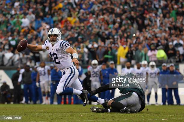 Defensive end Derek Barnett of the Philadelphia Eagles sacks quarterback Andrew Luck of the Indianapolis Colts in the final minutes of the fourth...