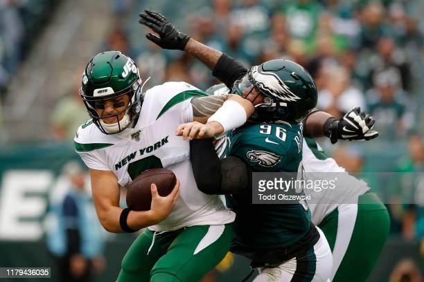 Defensive End Derek Barnett of the Philadelphia Eagles sacks quarterback David Fales of the New York Jets at Lincoln Financial Field on October 06,...